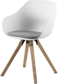 Lisomme Kunststof eetkamerstoel - Rene - Houten onderstel - Wit - Kuipstoel - kunststof eetkamerstoel - moderne stoel - tijdloze uitstralig