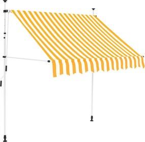 Luifel handmatig uittrekbaar 200 cm geel en witte strepen