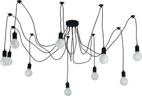 Edison Vintage Hanglamp, 8 Lamphouders Zwart