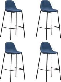 Barstoelen 4 st stof blauw