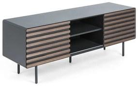 Kave Home Kesia Mat Grijs TV-meubel Met Walnoot - 162x45x58cm.