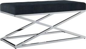 Bankje 97 cm fluweel en roestvrij staal zwart
