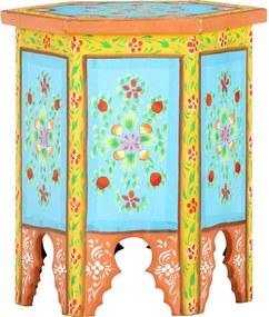 Bijzettafel handgeschilderd 38x33x42 cm mangohout meerkleurig