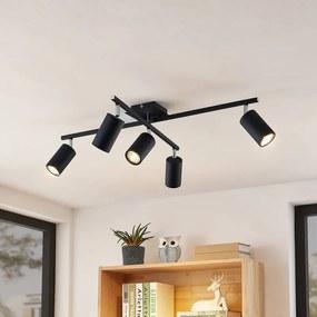 Ebardo plafondlamp, 5-lamps, zwart - lampen-24