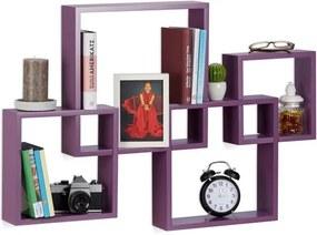 Wandplank 4er set - boekenplank - wandboard - MDF - zwevend - hout - wandbox violet