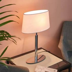 Elegante tafellamp Akita met witte stoffen kap