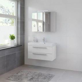 Bando badmeubelset 90 cm | spiegelkast | aluminium greeplijst- mat wit