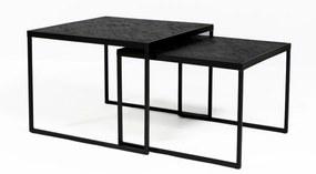 Vierkante Salontafelset Zwart Teak Hout