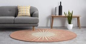 Vaserely rond vloerkleed, 200 cm, roze wol