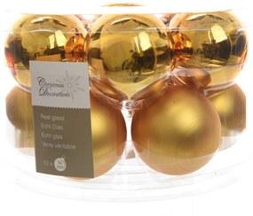 Kerstbal glas glans-mat diameter 5cm intens goud KSD
