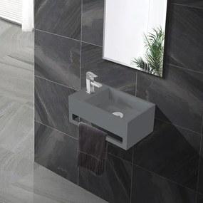 Fontein Toilet - Toiletmeubel WC Solid Surface 36x16cm - Betonlook Links