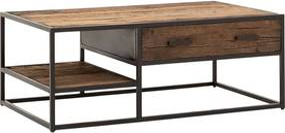 Goossens Eco Salontafel Otik rechthoekig, hout teak onbewerkt, urban industrieel, 120 x 44 x 70 cm