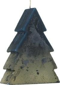 Vormkaars Kerstboom - 17 X 13 Cm - Goud Blauw