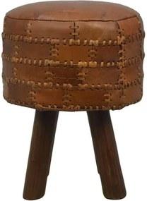 HSM Collection ronde kruk Jari - patchwork leder - vintage cognac - Leen Bakker