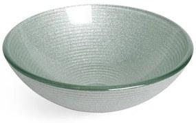 Saniclass Pesca Mela waskom 42x14,5cm rond gehard glas wit grijs GS-L0075