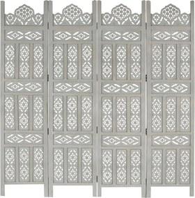 Kamerscherm 4 panelen handgesneden 160x165 cm mangohout grijs