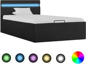 Bedframe met opslag en LED stof donkergrijs 90x200 cm