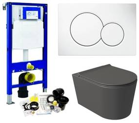 Geberit UP320 Toiletset Set54 Wandcloset Salenzi Civita Mat Antraciet Sigma Drukplaat