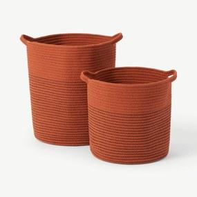 Toro set van 2 grote opbergmanden met handvatten, gebrand oranje