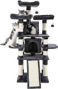 Nancy's Luxe Krabpaal Voor Katten - Krabpaal Kat - 5 Ligplekken - Grijs en Wit - 60 x 55 x 172 cm