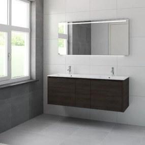 Bruynzeel Matera badmeubelset dubbele kom 150x56.5x50cm met spiegel verlichting gladstone 226208k