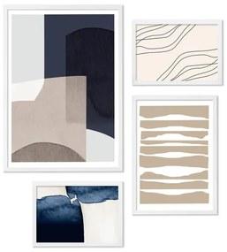 Layers & Lines set van 4 ingelijste prints, marineblauw en lichtroze