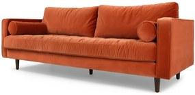 Scott 3-zitsbank, gebrand oranje fluweel