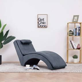 Chaise longue met kussen kunstsuède grijs
