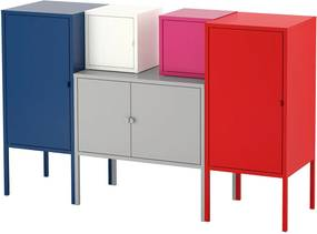 LIXHULT Opbergcombinatie 130x82 cm donkerblauw grijs/wit/roze/rood