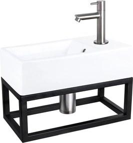 Fonteinset Differnz Force Rechthoek 40x22x27cm Keramiek Wit Handdoekrek Rechte Toiletkraan Clickwaste Sifon RVS Look