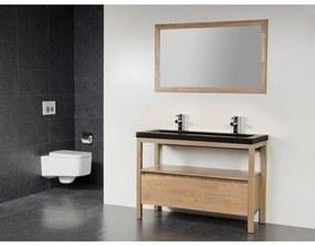 Saniclass Natural Wood Badmeubelset 120cm grey oak met wastafel natuursteen Corestone 2 kraangaten met spiegel SW21675
