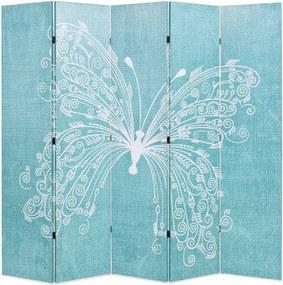 Kamerscherm inklapbaar vlinder 200x170 cm blauw