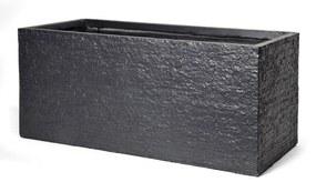 Bloembak Pot rechthoek Utah l60 cm b30 cm h30 cm zwart Mcollections