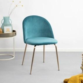 Kave Home Eetkamerstoel 'Ivonne Gold' Velvet, kleur blauwgroen