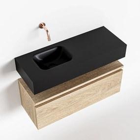 MONDIAZ ANDOR 80cm toiletmeubel washed oak. LEX 80cm wastafel urban links geen kraangat