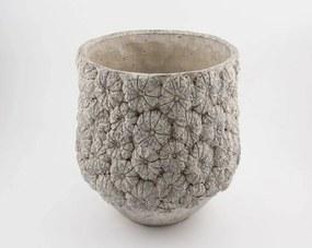 D&M Depot | Bloempot Itch lengte 55 cm x breedte 55 cm x hoogte 44 cm crèmekleurig bloempotten beton decoratie vazen & bloempotten | NADUVI outlet