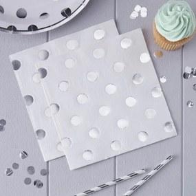 Papieren servetten - Polka Dot - Zilver 20 stuks
