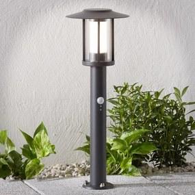 LED sokkellamp Gregory, donkergrijs, met sensor - lampen-24