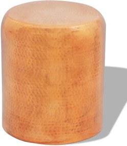 Krukje/bijzettafeltje gehamerd aluminium brons/koperkleurig