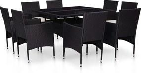 9-delige Tuinset poly rattan en glas zwart