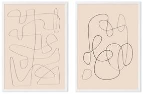 Livia Abstract Knots set van 2 ingelijste prints A3, roze