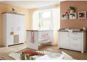 Complete babykamer »Stralsund« ledikant + commode + kledingkast, (3-delig) in imitatie-pine wit