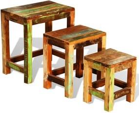 3-delige Bijzettafeltjesset vintage stijl gerecycled hout