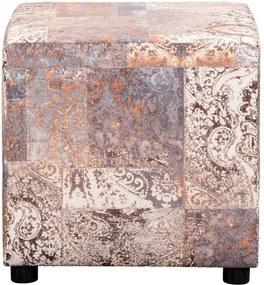 Hocker Milan - taupe/caramel - stof Vintage - 46x46x46 cm - Leen Bakker