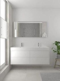 Box badmeubelset 150 cm dubbele waskom | spiegel- mat wit