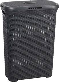 Wasmand Rattan - antraciet - 44,8x26,5x61,5 cm - Leen Bakker