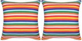 Decoratief kussen canvas print met smalle strepen 45x45 cm 2 st