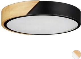 LED plafonnière rond - plafondlamp hout metaal - 18 W LED plafond lamp 5 x 30 cm zwart