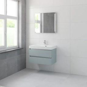 Bruynzeel Palitano badmeubelset 56.5x80x46cm 1 kraangat 1 wasbak 2 lades met spiegel met softclose fjord groen 123102284