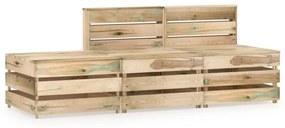 3-delige Loungeset groen geïmpregneerd grenenhout
